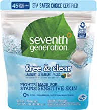 Seventh Generation Free & Clear Laundry Detergent, Fight stains and nurture your family's sensitive skin -Pack 45 Count (9...