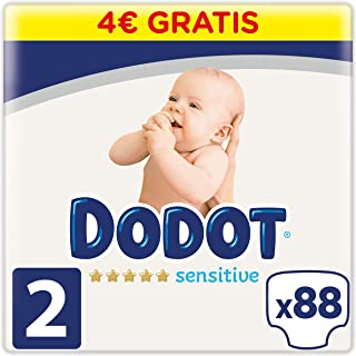 Dodot Sensitive Pañales, Blanco, Talla 2 (4 - 8 Kg), 92 Unidades