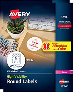 Avery High-Visibility Labels for Laser Printers, 2.5
