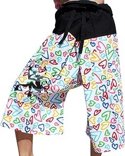 Raan Pah Muang RaanPahMuang 渔夫裤爱心图案手工绘制平底魔法图案