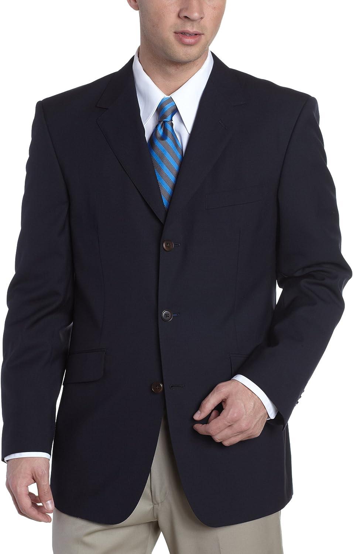 Louis Raphael Men's Super 120'S 3 Button Modern Athletic Fit Suit Jacket, Navy, 40 S