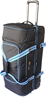Bravo Gear 30 Inch Rolling Upright Duffel Bag Softside Carry On Luggage Blue Orange