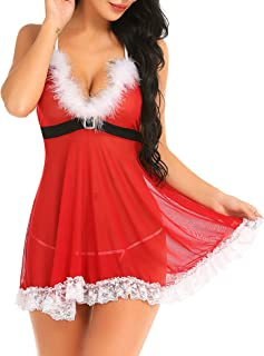 Gladiolus Christmas Lingerie for Women Sexy Lace Babydoll Red Santa Lingerie Set Chemise S-XXXL