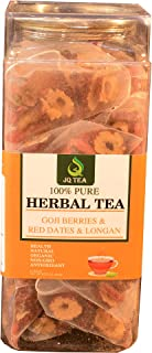 JQ - Red dates - Goji Berries -Dried Longan - Fruity Herbal Loose Leaf Tea - Hot or Iced - Vitamin and Antioxidant Rich - Caffeine Free - All Natural - 120g (4.23-ounce) 15Bags