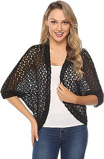Women's 3/4 Sleeve Shrug Lace Crochet Open Front Cardigan Bolero Jackets