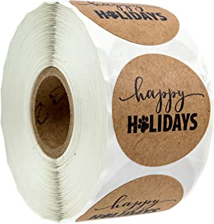 1.5 Happy Holidays Sticker with Paw Print / 500 Dog Paw Print Christmas Stickers Per Roll