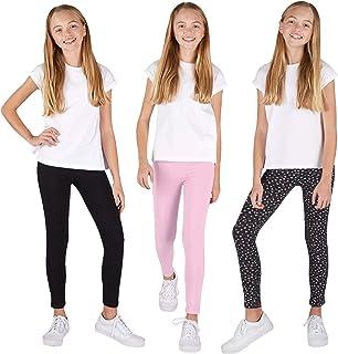 LEG 3 بسته شلوار چسبان دخترانه | ترکیبی شیک از رنگ ثابت یا چاپ ، کشش فوق العاده نرم روی شلوار استرچ برای راحتی روز