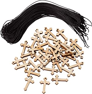 Genie Crafts 36-Pack Bulk Mini Wooden Cross Pendant Necklaces for Gifts, DIY Wood Arts and Crafts, 1.375 x 0.8 x 0.2 Inches