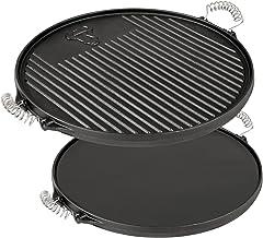 BBQ-Toro Gusseisen Grillplatte mit Griffen Durchmesser 43 cm | Wendegrillplatte - emailliert | Gasgrill Zubehör für Kugelgrill | Emaille Steakplatte