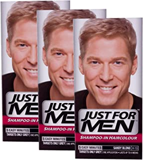 THREE PACKS of Just For Men Natural Sandy Blonde Shampoo