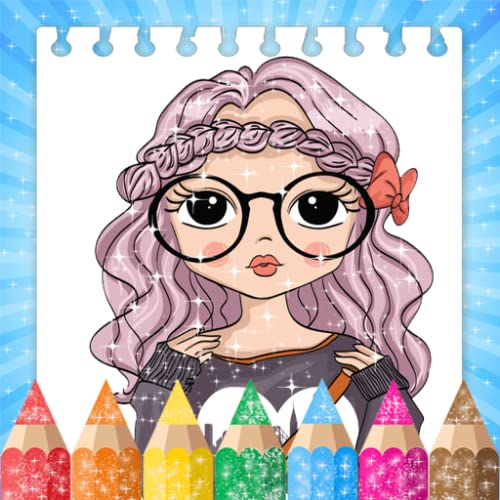 Coloring Book Glitter Chibi Doll For Kids