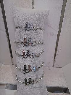 Bracciale famiglia family con sagoma famiglia in acciaio inossidabile, regolabile. Handmade, realizzato a mano, 33 combina...