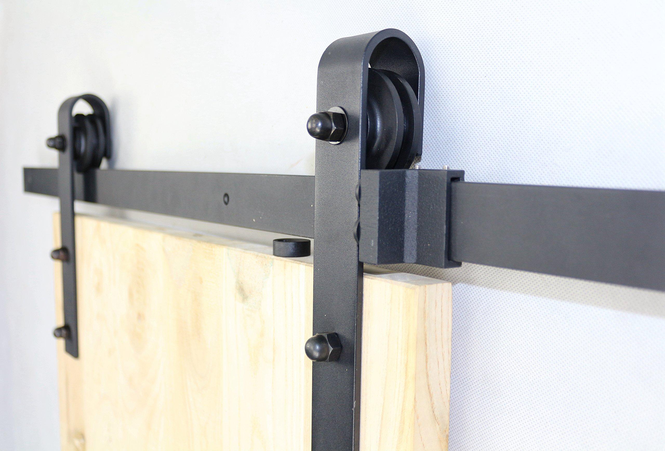 6 ft Negro Acero Slide puerta corrediza de granero Hardware Track Rail Percha Rodillo: Amazon.es: Bricolaje y herramientas