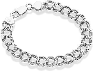 Miabella 925 Sterling Silver Italian 9mm Double Curb Link Chain Bracelet for Women Men, 6.5, 7, 7.5, 8 Inch 925 Charm Brac...
