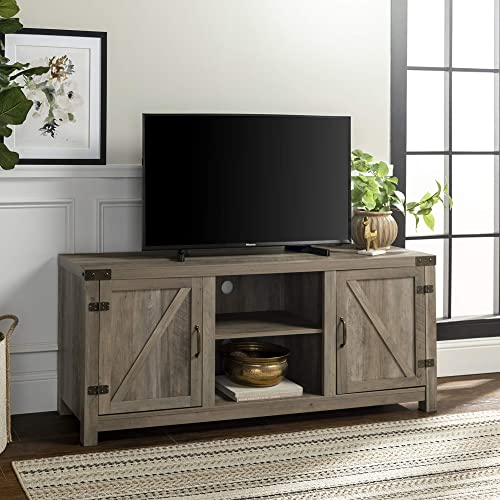 "Walker Edison Furniture Company Farmhouse Barn Wood Universal Stand for TV's up to 64"" Flat Screen Living Room Storag..."