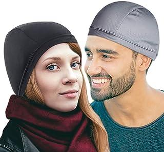 Helmet Liner Skull Caps for Men Sweat Wicking Cooling [2 Pack] – 1 Gray and 1 Black Skull Cap For Men – High-Stretch Sport...