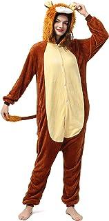 Katara- Pijamas Enteros Diferentes Animales y Tamaños, Adultos Unisex, Color león marrón Claro, Talla 145-155cm (1744)