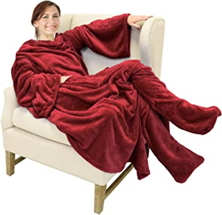 Catalonia Wearable Fleece Blanket with Sleeves and Foot Pockets for Adult Women Men,Micro Plush Comfy Wrap Sleeved Throw Blanket Robe Large,Wine