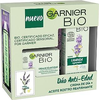 Garnier Bio - Cofre Antiedad con Crema Hidratante Antiedad con Aceite Esencial de Lavanda y Vitamina E Antioxidante 50 ml ...