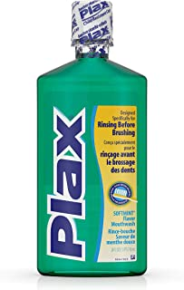 Plax Oral Rinse Mouthwash, Daily Mouth Rinse Designed Specifically for Rinsing Before Brushing, with a Refreshing Soft Min...