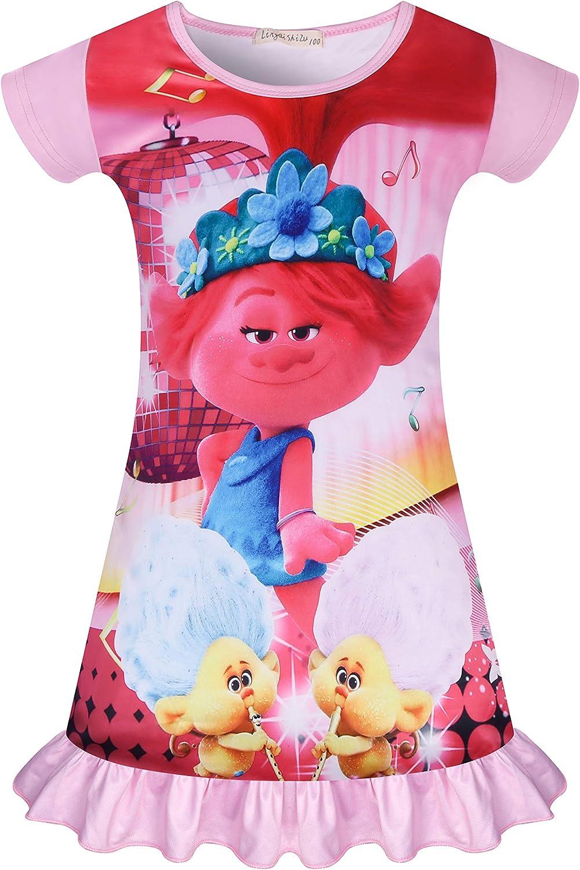 Trolls Girl Nightgowns Toddler Girl Sleepwear Princess Pajamas Bedding Sleep Dress