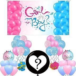 Pink and Blue Gender Reveal Banner Decoration - Large, 72x40 Inches   Gender Reveal Backdrop Boy Or Girl   Baby Gender Rev...