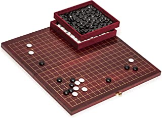 Yellow Mountain Imports Go Game Set with Folding Dark Cherry Veneer, Rosewood Go Board and Melamine Stones