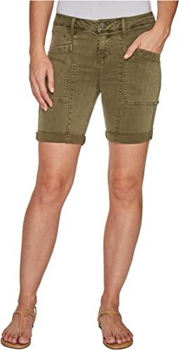 Kylie Cargo Shorts with Flat Patch Pockets on Pigment Dyed Slub Stretch Twill in Olive Night