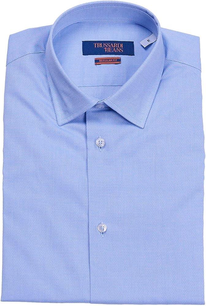 Trussardi jeans, camicia da uomo a maniche lunghe, 100% cotone 52C00167-AI20-U037-38