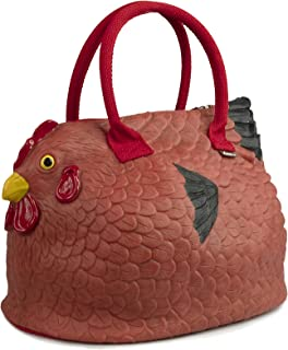 decca c. Original Handtasche mit Huhn-Motiv, Rot / Braun