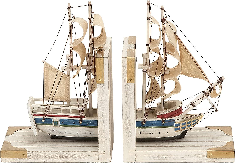 Deco 79 free Nautical Finally popular brand Coastal Book Ends a Ship Trade White As