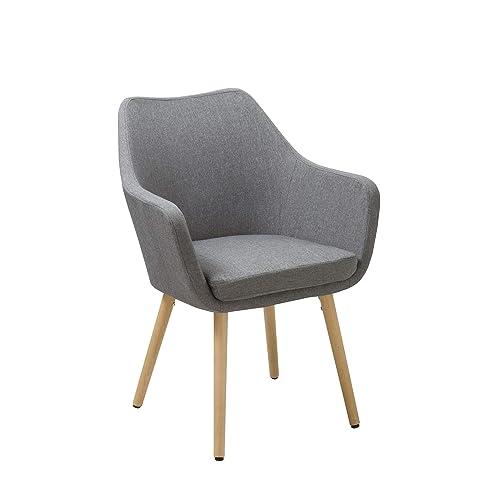 Duhome Elegant Lifestyle Chaise Salle à Manger en Tissu (Lin) ou Similicuir Gris sélection de Couleur Fauteuil Design Retro Chaise scandinave avec Pieds en Bois WY-8021D