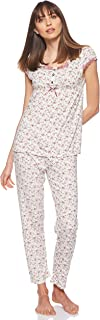 JOANNA Women's Floral Pattern Pajama Set, Large, Violet
