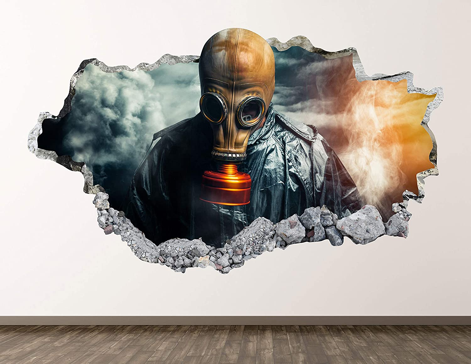 Soldier Gas Mask Wall Decal Art Decor 3D Smashed Military Clothing Sticker Poster Kids Room Mural Custom Gift BL1783 (22