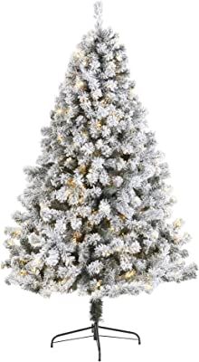 Nearly Natural 7ft. Flocked West Virginia Fir Artificial Christmas Tree with 350 Clear LED Lights, Green
