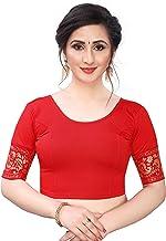 GOGURL Women's Stitched Jacquard Lycra Full Sleeve Saree Blouse Free Size Stretchable Blouse