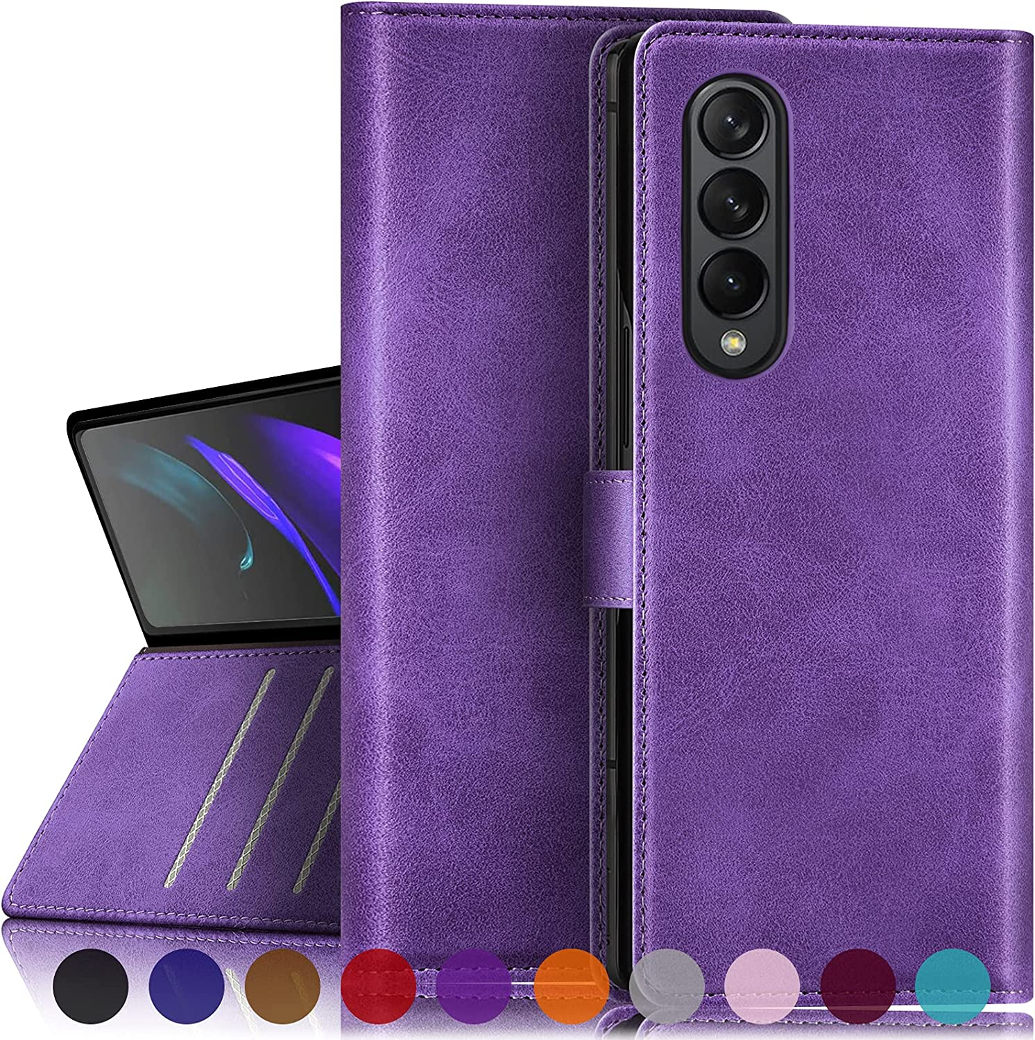 SUANPOT for Samsung Galaxy Fold 3 5G with RFID Blocking Wallet case Credit Card Holder,Flip Book PU Leather Phone case Shockproof Cover Cellphone Women Men for Samsung Fold 3 case Wallet (Purple)