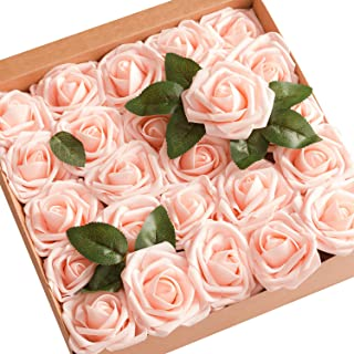 Ling's moment Artificial Flowers 50pcs Real Looking Blush Fake Roses w/Stem for DIY Wedding Bouquets Centerpieces Bridal Shower Party Home Decorations