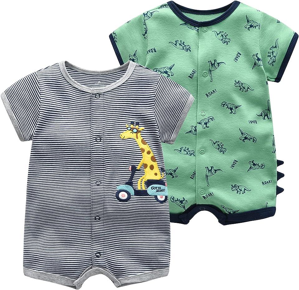 Baby Jungen Sommer Schlafstrampler 2er Pack - Kurzarm Strampler Jumpsuits Baumwolle Pyjama Kinder Spieler Spielanzug für Neugeborenes 3-6 Monate