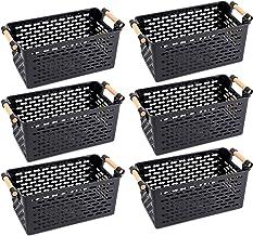 Yesland 6 Pack Plastic Storage Basket, Black Basket/Organizer/Bin with Handles for Home Office Closet