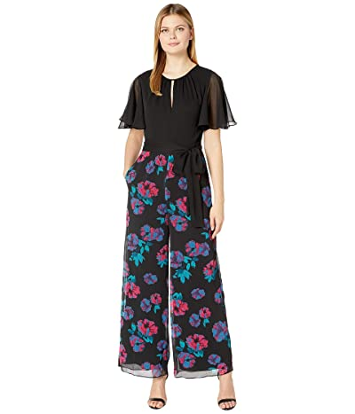Tahari by ASL Printed Chiffon Jumpsuit with Solid Chiffon Top (Black/Magenta/Teal) Women
