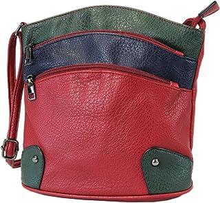 irisaa Damen Handtasche Umhängetasche Multi-Color Streifen Bunte Tasche Bag mit Reißverschluss
