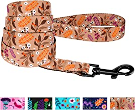 CollarDirect Floral Dog Leash Nylon Pattern Flower Print Adjustable Pet Leashes for Dogs Small Medium Large Puppy