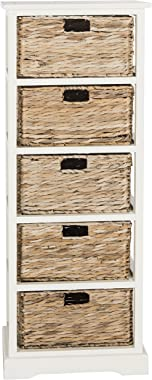 Safavieh American Homes Collection Vedette Distressed Black 5 Wicker Basket Storage Tower