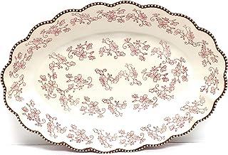 "Temp-tations Clamshell Oval Baker 4.5 Qt, 18"" x 12"" (Floral Lace Cranberry) U113"