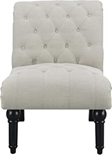 Farrah Armless Accent Chair in Almost White with Button Tufting, Nailhead Trim, And Turned Legs, by Artum Hill
