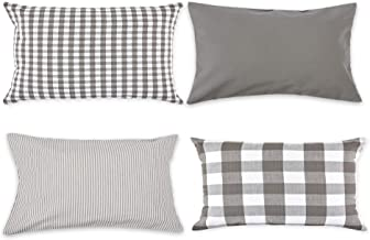 DII Gingham/Check Pillow Cover, 12x20, Assorted Gray/White