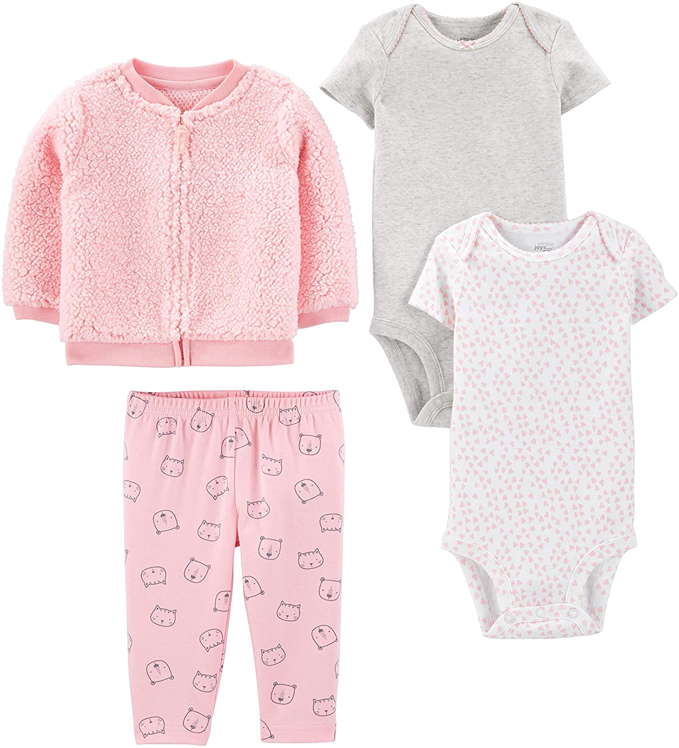 and Bodysuit Set Simple Joys by Carters Baby Girls 4-Piece Fleece Jacket Pant