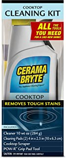 Cerama Bryte Cooktop Cleaning Kit, 10 oz Cooktop Cleaner, 2 Cleaning Pads & POW-R Grip Pad Tool, and Scraper, Heavy-duty Cleaning, Non Scratch, For Smooth-Top Cooking Surfaces and More, Biodegradable