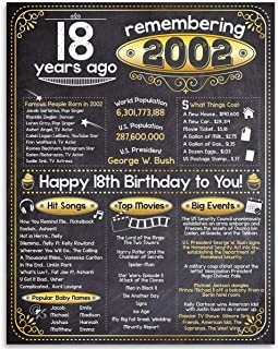 18th Birthday (Eighteen, 18) - Remembering The Year 2002-11x14 Unframed Art Print - Perfect Gift and Party Decoration Under $15